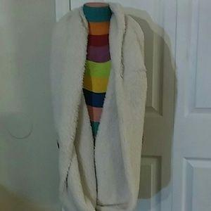 White Fuzzy infinity scarf